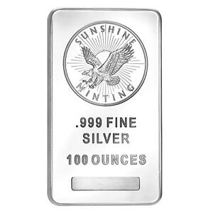 100 oz Silver Bar .999 Sunshine Mint
