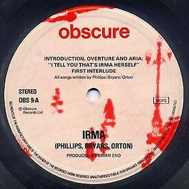 IRMA by Tom Phillips, Gavin Bryars, BRIAN ENO, #OBSCURE 9 UK LP - RARE