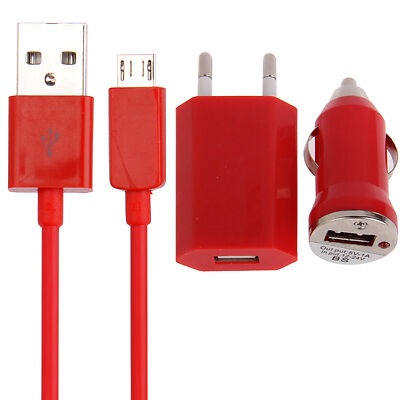 Chargeur secteur auto cable Micro USB 3 en 1 Samsung Nokia Huawei HTC 1A Rouge
