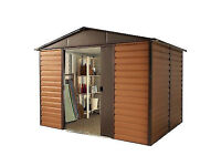 Yardmaster Woodgrain Shiplap 108WGL Metal Shed 8x10 With 3 x Padlocks