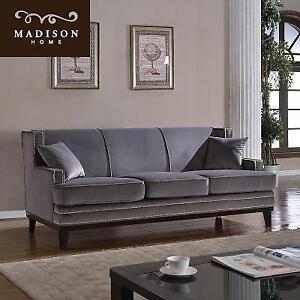 NEW MADISON HOME MODERN GREY SOFA - 129046397 - NAILHEAD TRIM DETAIL VELVET UPHOLSTERY