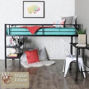 NEW* WE TWIN LOFT BED WITH DESK - 129659686 - WALKER EDISON TWIN LOFT BED WITH DESK AND SHELVES - BLACK