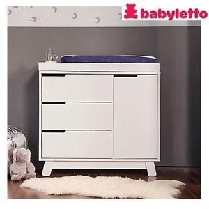 NEW* BABYLETTO WHITE CHANGING TABLE HUDSON - 3 DRAWERS AND 1 CABINET BABY BABIES NURSERY DRESSERS DRESSER CHESTS