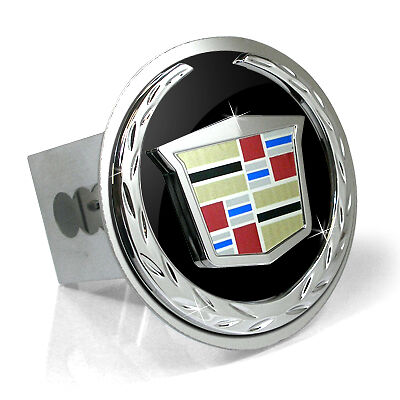 - Cadillac 3D Black Infill Logo Steel Tow Hitch Cover Plug