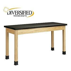 NEW* DIVERSIFIED LABORATORY TABLE P7606K36N 142162322 RED OAK LEGS EPOXY RESIN TOP PLAIN APRON