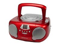 Groov-e GVPS713/RD Boombox - Portable CD Player with Radio