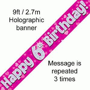 Pink Holographic Foil Birthday and Age Banners, Happy Birthday plus ages 1 - 13