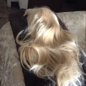 real hair long blonde wig and also synthic hair extension