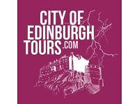 Tour guides wanted for City of Edinburgh tours, walking tours, pub crawls & underground tours