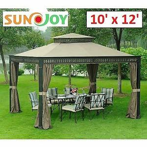 NEW SUNJOY 10x12 GAZEBO D-GZ399PST-H 250741615 SEABROOK