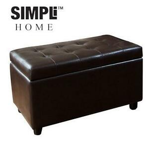 NEW SIMPLi HOME STORAGE OTTOMAN - 107476324 - WYNDENHALL ESSEX MEDIUM RECTANGULAR DARK BROWN OTTOMAN BENCH