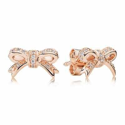 Pandora Rose Gold Bow Earrings New