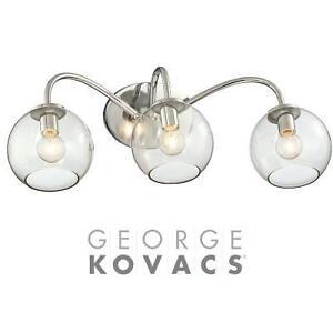 NEW GEORGE KOVACS 3-LIGHT FIXTURE - 112754846 - EXPOSED CHROME BATH LIGHT