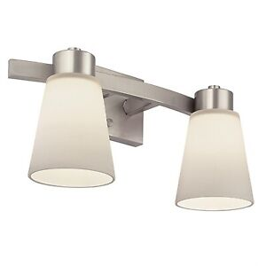 Portfolio 2-Light Brushed Nickel Bathroom Vanity Light