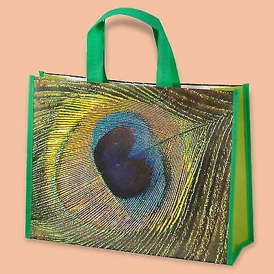 PACK OF 10 ECO NON WOVEN SHOPPING BAGS GREEN PRINTERED PEACOCK FEATHER 40x13/30
