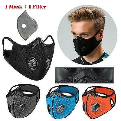 Washable Reusable Style Cycling Face Mask With Carbon Filter Breathing Valves