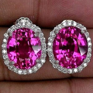 Pink Sapphire and White Topaz Earrings