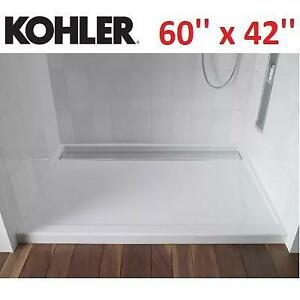 NEW* KOHLER GROOVE SHOWER BASE K-9996-0 198040864 60'' x 42'' SINGLE THRESHOLD ACRYLIC