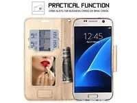CLEARANCE.100 CASES SAMSUNG GALAXY S7 COSMETIC MIRROW REAL LEATHER WALLET CASE GOLD BOW KNOT STRAP