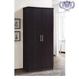 NEW HODEDAH 2 DOOR WARDROBE HID8600 222899258 CHOCOLATE ADJUSTABLE SHELVES HANGING ROD