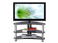 Black Glass Chrome Steel TV Stand Cabinet Unit LED LCD Flat Screen