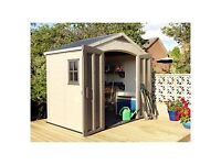 Keter Apex Plastic Garden Shed Cream, 8x6ft