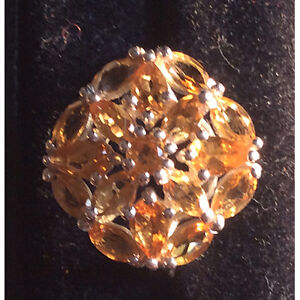 Sterling Silver Ring with Citrine Stones