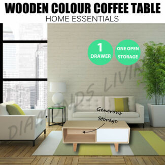 Wooden Color Coffee Table With Drawer Storage 100CM