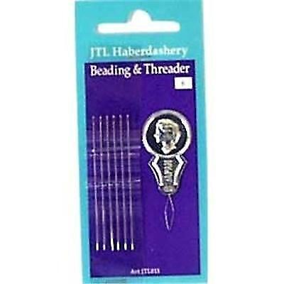 Pack of 6 Beading / Sewing Needles with Threader