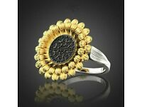 Sunflower Ring 925 Silver Women Black Sapphire Wedding Party Ring Band Size 6