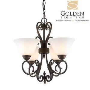 NEW GL 4 LIGHT MINI CHANDELIER - 114593197 - GOLDEN LIGHTING OPAL GLASS BRONZE