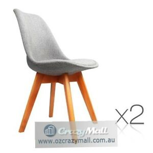 Set of 2 Padded Fabric Dining Chair Grey Mosman Mosman Area Preview