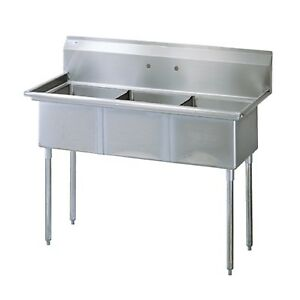 3-COMPARTMENT SINK **NEW**STAINLESS STEEL 60″ EXTERIOR LENGTH