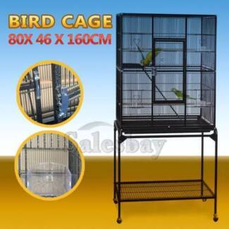 160cm Large Parrot Aviary Budgie Canary Bird Cage Wheels