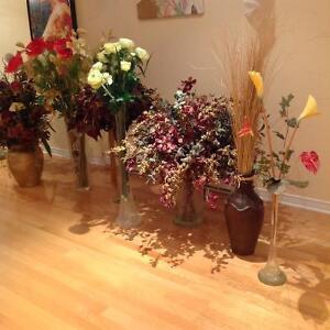 Fleurs artificielles vases 7 magnifiques vases $49 chacun