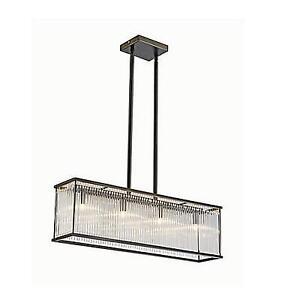 NEW 4 LIGHT RECTANGULAR PENDANT L25048 211623496 L2 LIGHTING BRONZE W/ GLASS ROD SHADE