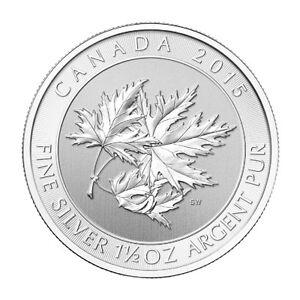 1.5 oz Pièce Argent Feuille Silver Canadian Maple Leaf Coin 2015