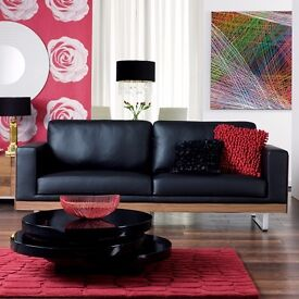Dwell - Black 2-seater leather sofa / couch