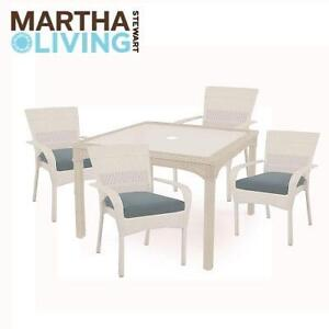 NEW MSL 5PC WHITE PATIO DINING SET - 120856873 - CHARLOTTETOWN ALL WEATHER WICKER WITH WASHED BLUE CUSHIONS
