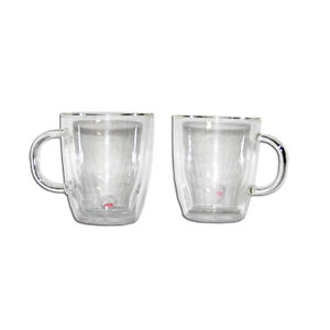Bodum Bistro Double Wall Insulated 10 Ounce Glass Mug Set 2 Coffee Mugs Hot Cups
