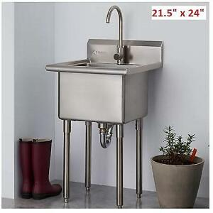NEW TRINITY UTILITY SINK THA-0303 225178986 21.5'' x 24'' FREESTANDING LAUNDRY WITH FAUCET