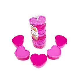 Set Of 5 Heart Shaped Stackable Storage Boxes Cake Sprinkles Sugar Shapes.