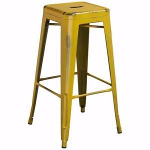 "Barchetta 30"" Bar Stool by Trent Austin Design Distressed Yellow SET OF 3 NEW"