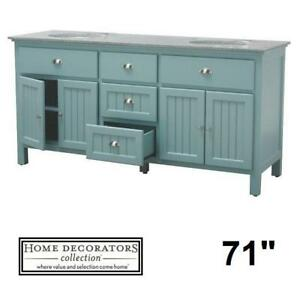 "NEW* HDC RIDGEMORE 71"" VANITY COMBO - 128588631 - HOME DECORATORS COLLECTION SEA GRASS GREY GRANITE BATH BATHROOM VAN..."