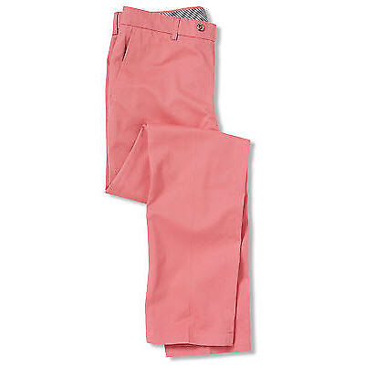 Salmon Twill Flat Front Slim Fit Chino