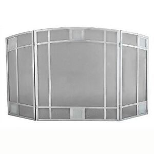 Pleasant Hearth Heritage Satin Nickel 3-Panel Fireplace Screen