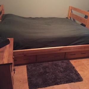 Solid wood double/twin bunk beds with matching desk and chair