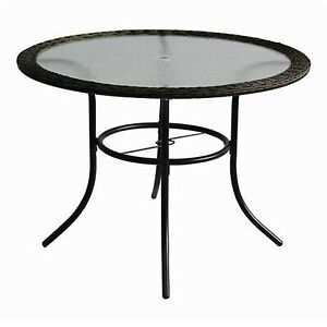 Round patio table tempered glass