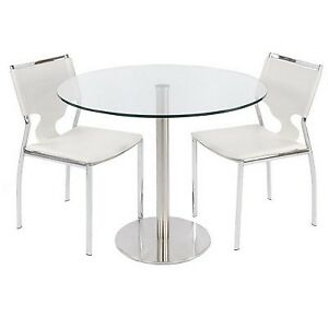 Contemporary Tempered Round Glass Top DINING TABLE Series