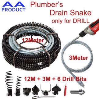 Plumber Drain Snake Pipe Pipeline Sewer Cleaner 12M+3M w 6 Drill